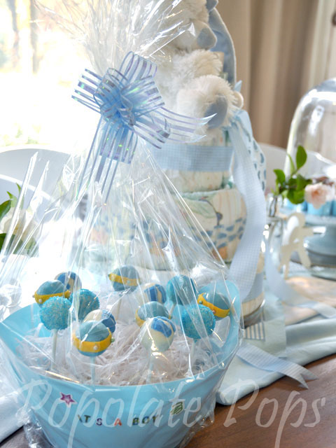 it s a boy baby shower cake pops popolate cake pops