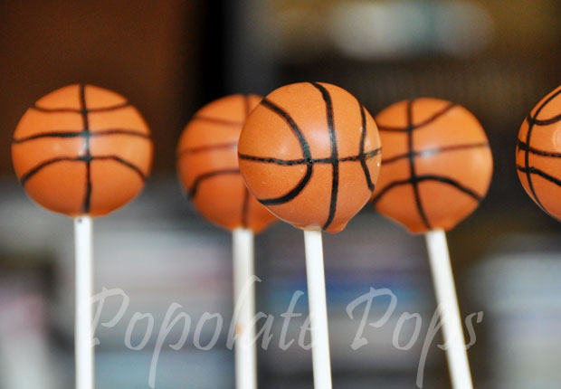 Basketball cake pops