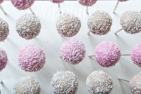 pink and latte cake pops