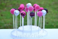 Pink and black cake pops