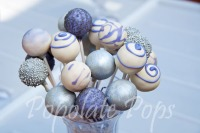 Purple and silver cake pops
