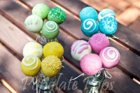 Yellow green blue pink cake pops