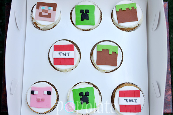 Minecraft cupcakes TNT Steve creeper block pig