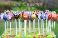 Monkey tiger giraffe elephant cake pops