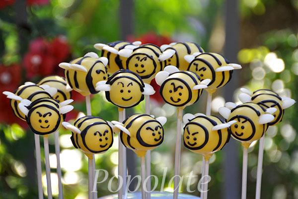 Bumble bee cake pops yellow black