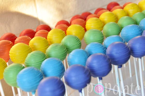 Rainbow colours cake pops
