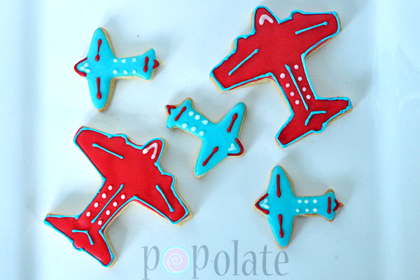 Blue red white airplane plane aeroplane cookies