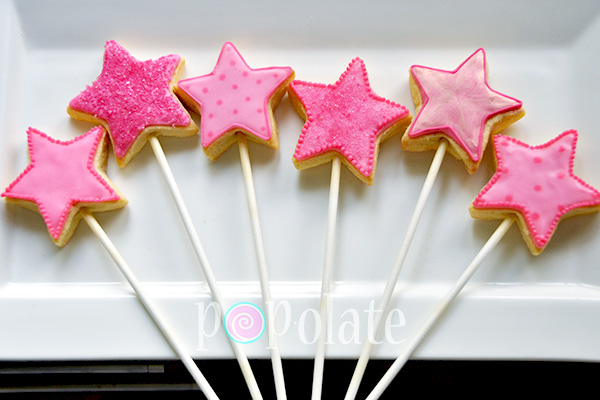 Pink fairy princess wand cookie pops