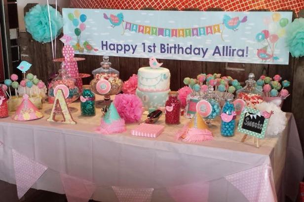 bird theme birthday party cake pops