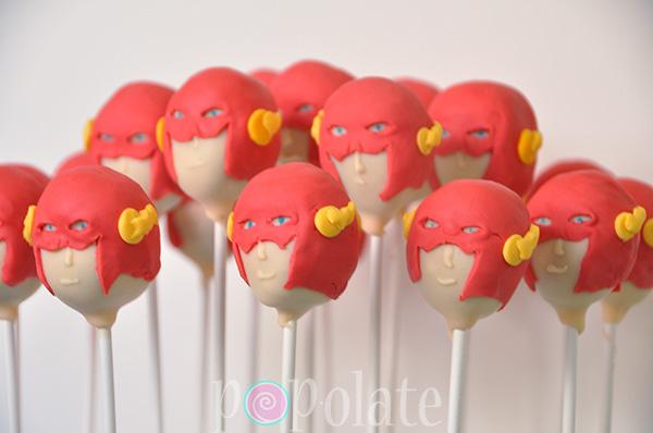 Flash superhero cake pops