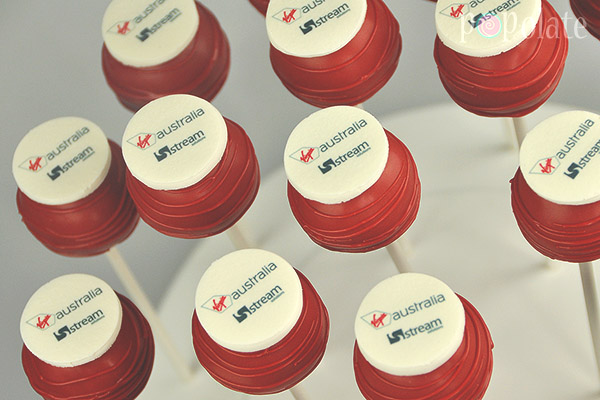 Logo cake pops corporate Virgin