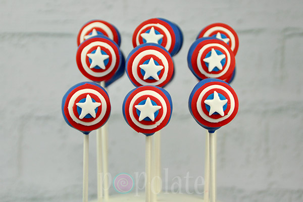 shield Captain America cake pops