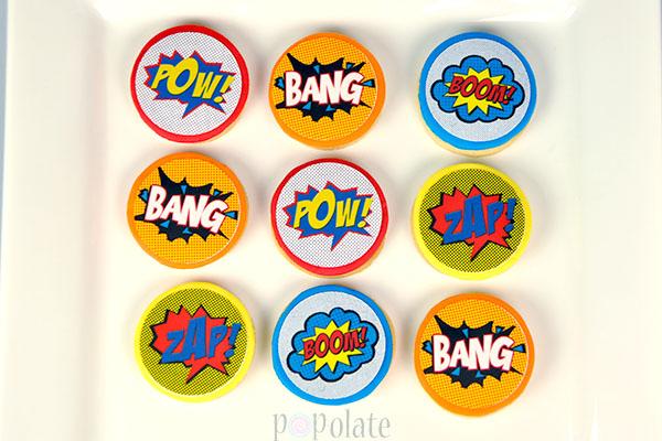 Superhero comic action words cookies
