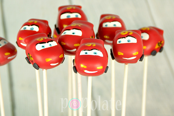 Lightning Mcqueen racing car cake pops Disney ka-chow